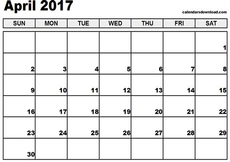 April Calendar April 2017 Calendar Image Weekly Calendar Template