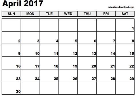 Calendar April April 2017 Calendar Calendar Printable Free