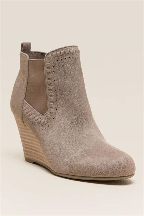 taupe report guire wedge ankle boot s
