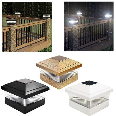 fence post lights solar black bronze white outdoor garden post deck cap square