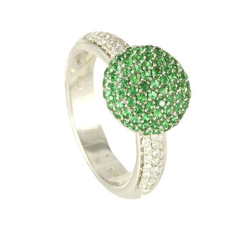 pave diamanti anello pave in oro diamanti ct 0 22 smeraldi ct 0 63 mis