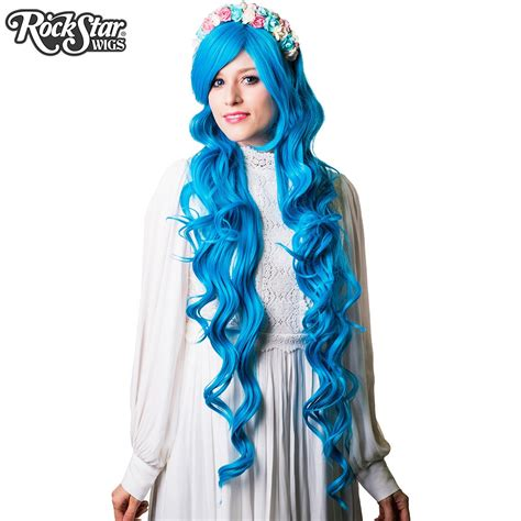sky blue cosplay wigs cosplay wigs usa curly 90cm 36 quot sky blue 00334 dolluxe 174