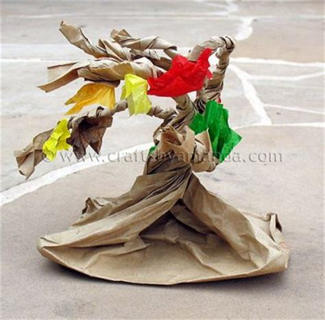 Paper Bag Tree Craft - paper bag tree family crafts