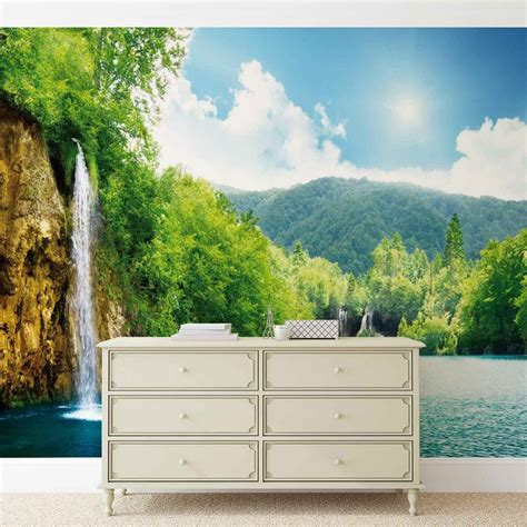 wall murals posters waterfall lake wall paper mural buy at europosters