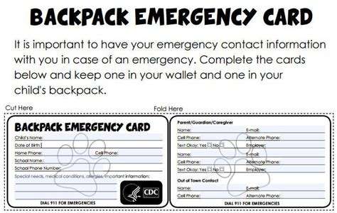 child emergency card template bureau of emsp ubemsp