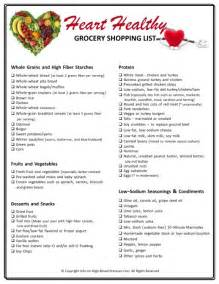 low cholesterol grocery list grocery list template