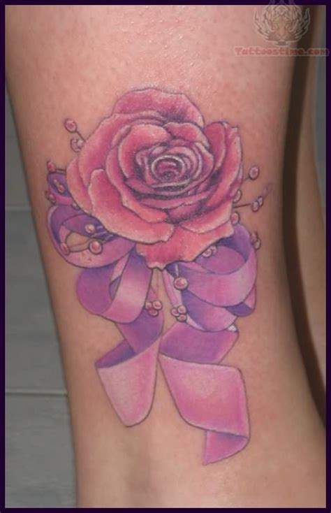 rose and breast cancer ribbon tattoo ribbon images designs