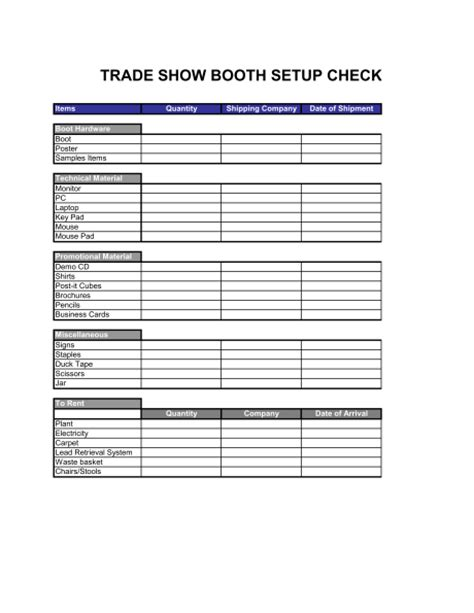 show templates checklist trade show booth setup template sle form