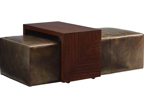 leather cocktail ottoman with shelf lexington take five broadway cocktail leather ottoman with