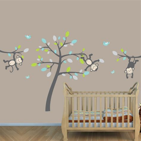 Teal Gray Jungle Nursery Wall Decals With Vine Wall Jungle Wall Decal For Nursery