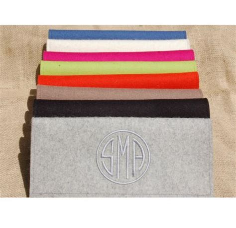 monogrammed felt clutch bag