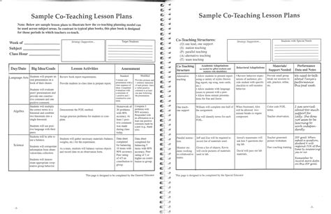 lesson plan template ontario elementary printable co teaching lesson plans 2 with teaching lesson