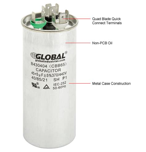 how to read dual capacitor capacitors capacitors dual voltage 370 440 run capacitor 45 5 mfd b430404