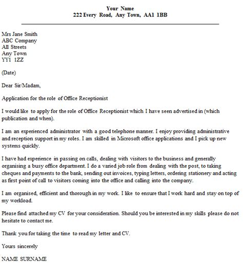 receptionist cover letter exles office receptionist cover letter exle icover org uk