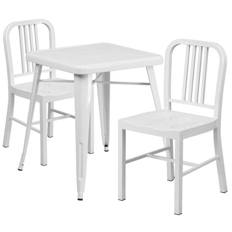White Metal Patio Table White Metal Indoor Outdoor Table Set W 2 Vertical Slat Back Chairs Flash Furniture Ch 31330 2