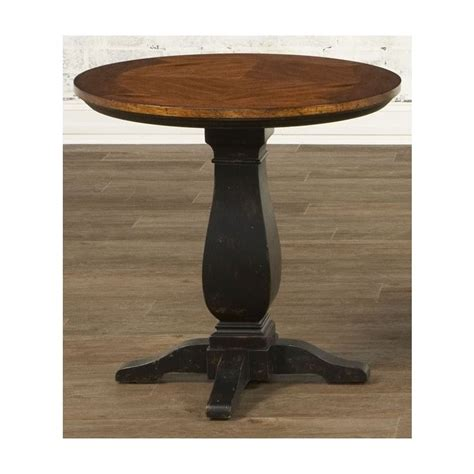 round pedestal accent table features