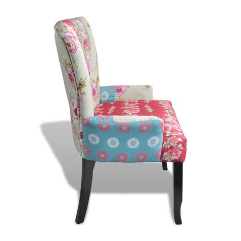 Patchwork Chairs - patchwork chair upholstered armrest relax multi coloured