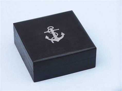 nautical home decor wholesale chrome captain s desk compass w black rosewood box 4 quot