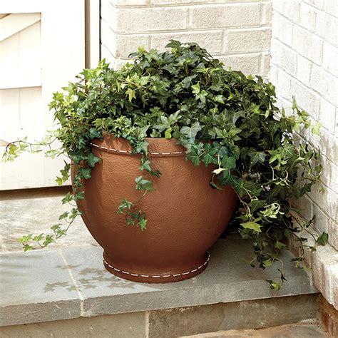 burke faux leather planter ballard designs