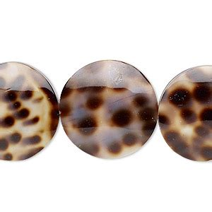 bead, laminated tiger cowrie shell (assembled), 20mm