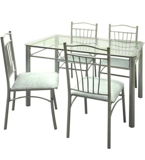 Glass Top Dining Table Set by Four Seater Dining Set W Glass Top Table By Furniturekraft
