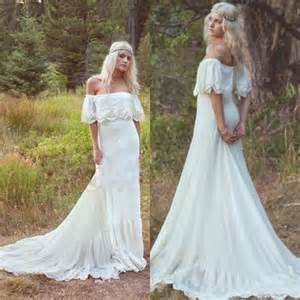 vintage bohemian wedding dresses 1970s hippie bridal gowns