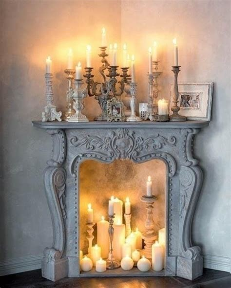mantle fireplace candles cozy by the
