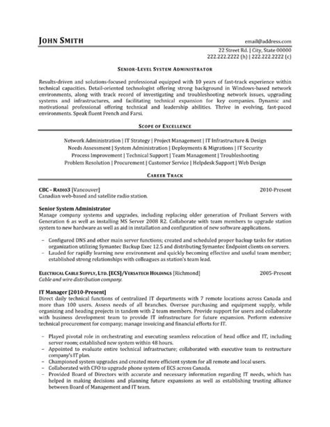 resume format for it support manager senior system administrator resume sle template