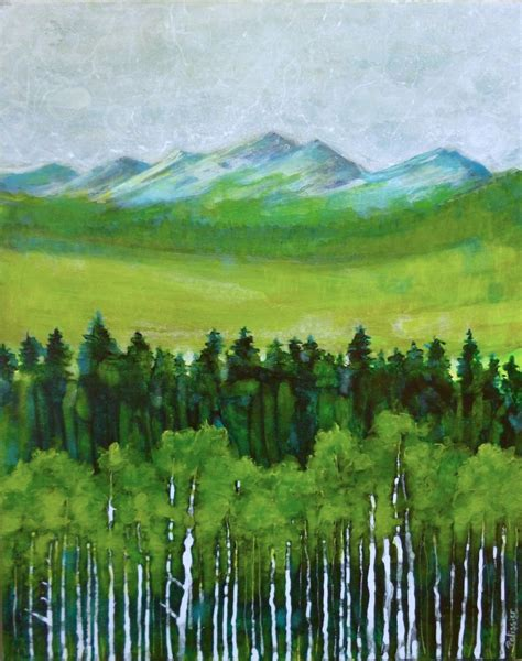 acrylic painting nature semi abstract mountain landscape acrylic painting on