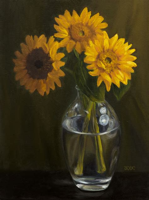 acrylic painting glass vase sunflowers studies struggles stubborness bouc