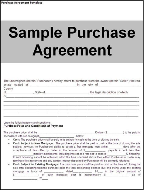 Purchase Contract Template doc 878995 real estate purchase agreement bizdoska