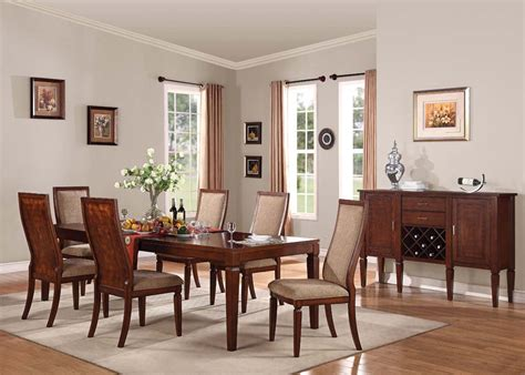 acme shelton 7pc leg dining room set in walnut by dining