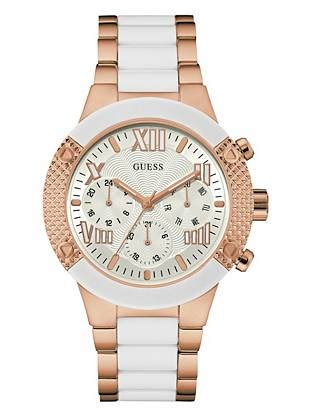 Guess Gs0257 Rosegold White white and gold tone show stopping sport guess