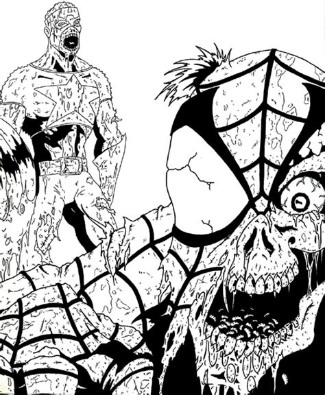 coloring pages of marvel zombies marvel zombies cap and spidey by jonathangrimm on deviantart