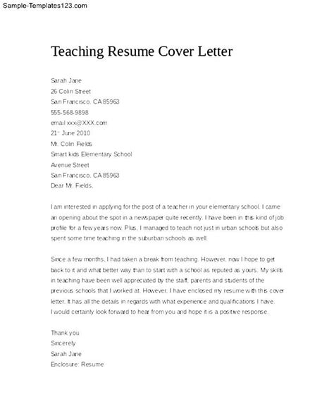 cover letter sle teaching position education resume cover letter 28 images sle cover