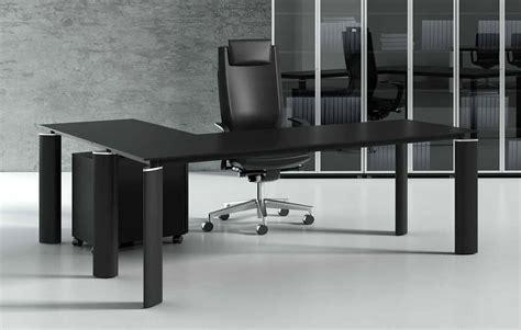 bureau en verre noir crystal bureau en verre noir 180 cm avec retour