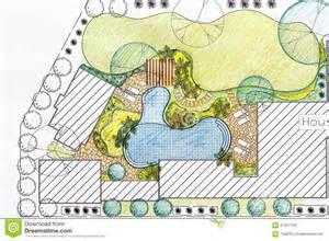Patio Landscape Architecture Design by Landscape Architect Design Backyard Plan For Villa Stock