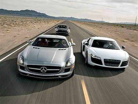 german supercar shootout! sls amg vs r8 v10 vs 911 turbo
