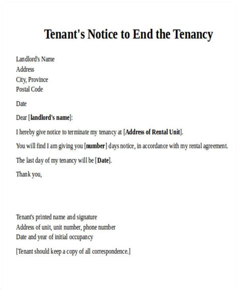 Termination Of Lease Agreement Letter From Tenant Agreement Letter Formats
