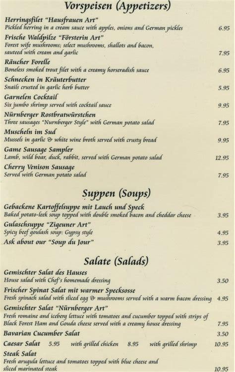 german cuisine menu german food menu