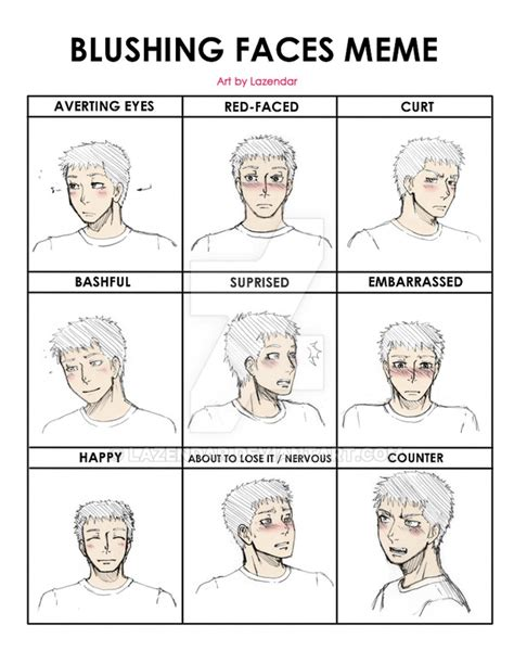 Types Of Meme Faces - blushing faces meme by lazendar on deviantart