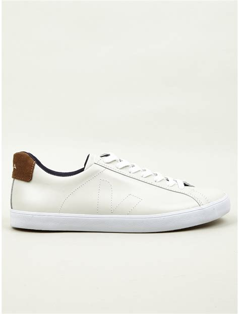 veja shoes veja mens esplar leather sneakers in white for lyst