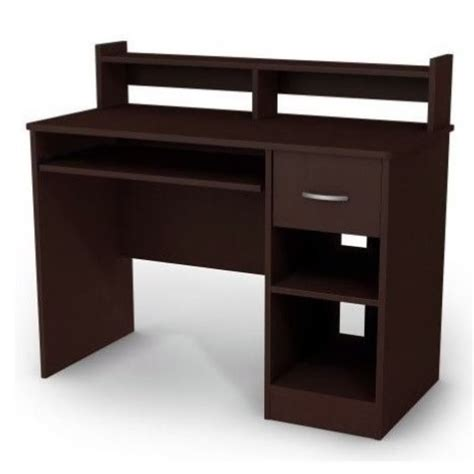 Small Wood Desks South Shore Axess Small Wood Computer Desk With Hutch In Chocolate 7259076