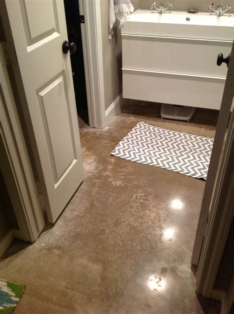 Small master Bathroom redo: polished concrete floors and 5