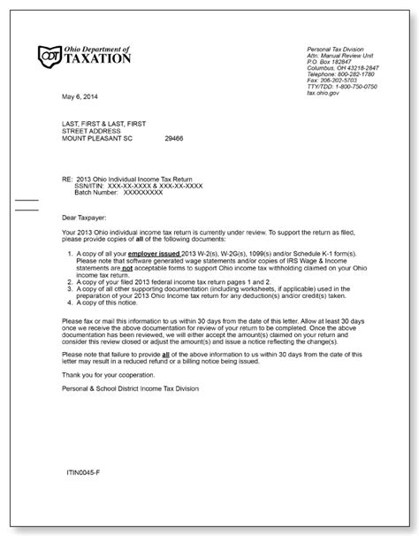 ohio department of taxation under review letter