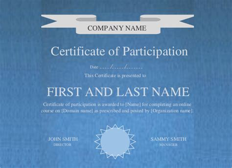 editable printable  certificate  participation template