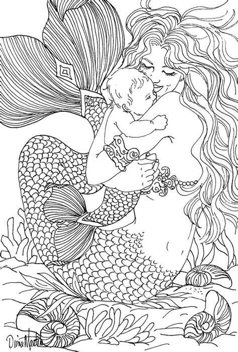 adult mermaid with long hair by lian2011 coloring pages 17 best images about coloring pages on pinterest short