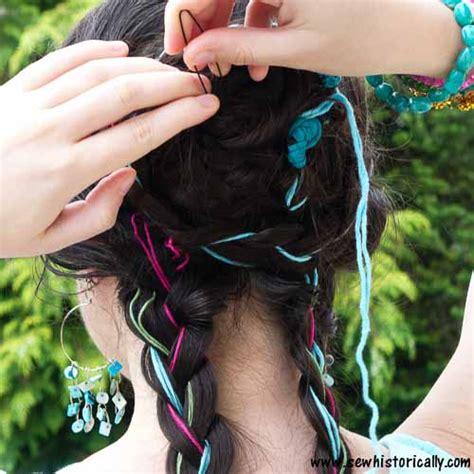 braid yarn into hair tutorial boho braided updo with yarn sew historically