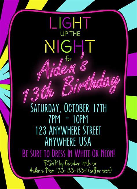 Neon 13th Birthday Invitation Glow Party Invitation Any Neon Invitations Templates Free