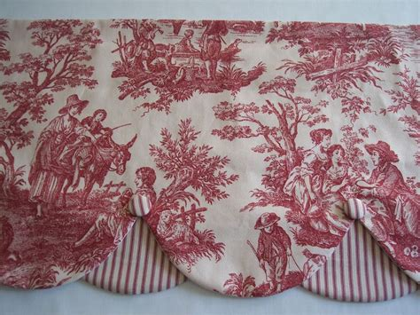 Waverly Toile Curtains Waverly Country Toile Layerd Scallop Covered Buttons Valance Curtains Ebay